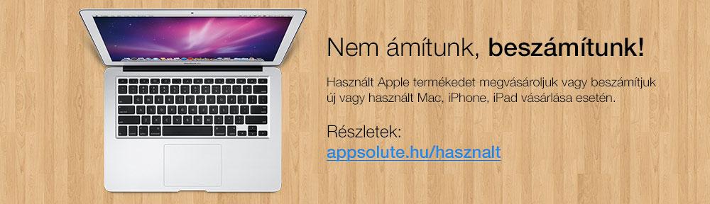 Nem ámítunk, beszámítunk! – Használt Apple termékedet megvásároljuk vagy beszámítjuk új vagy használt Mac, iPhone, iPad vásárlása esetén.