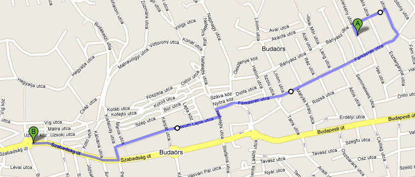 Google Maps útvonal