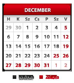 Decemberi nyitvatartás
