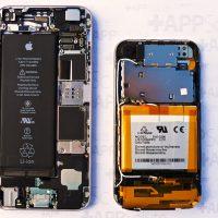 Az akkumulátor jelentős részt foglal el mindkét készülékben, iPhone, iPhone 6