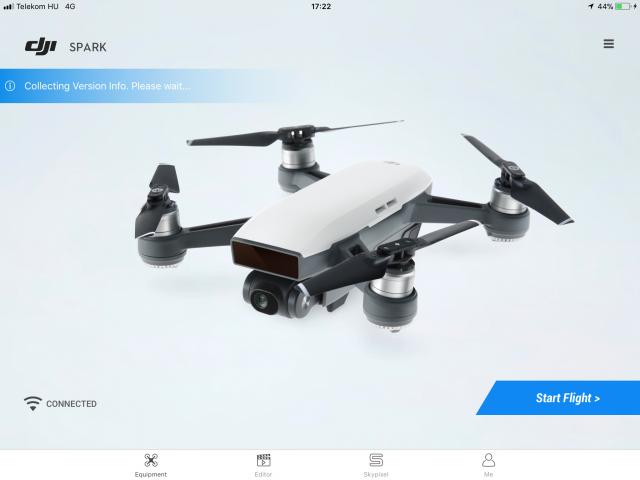 A Start Flight megnyomásával beléphetünk az alapnézetbe, amit mindig látni fogunk a drón használata közben.