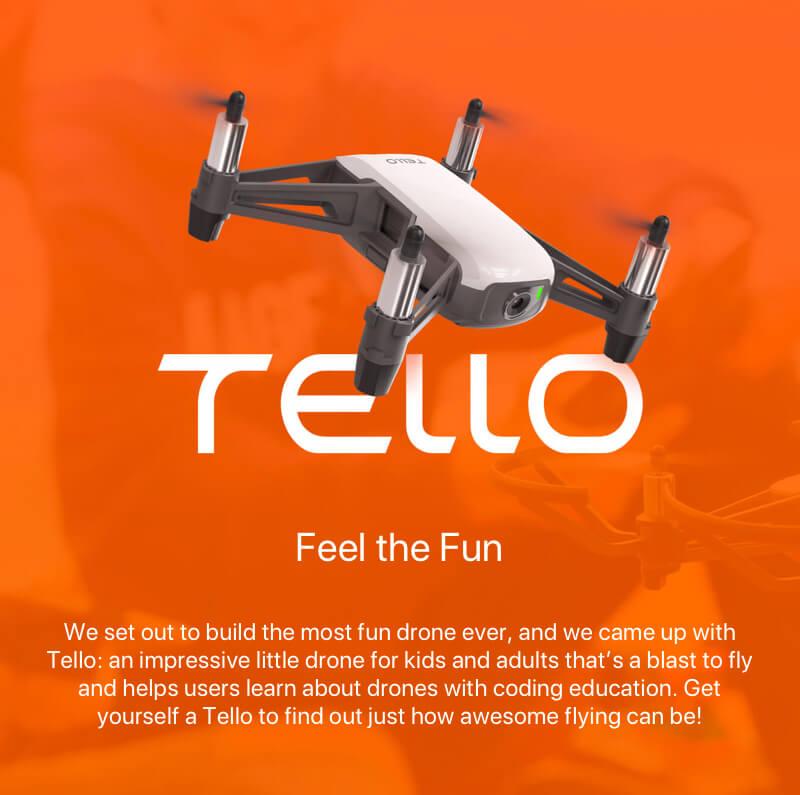 DJI Tello drón, drón gyerekeknek, drón kezdőknek, kezdő drón, DJI belépő kategóriás drón, játék drón, drón fotózás, kamerás drón, drónok olcsón, hd kamerás drón