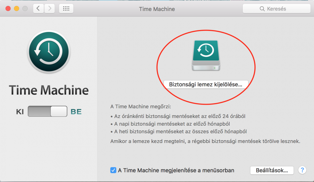 Lemez kiválasztása biztonsági mentés készítéséhez a Time Machine programmal, adatmentés nemcsak MacBook-on... ssd, hdd