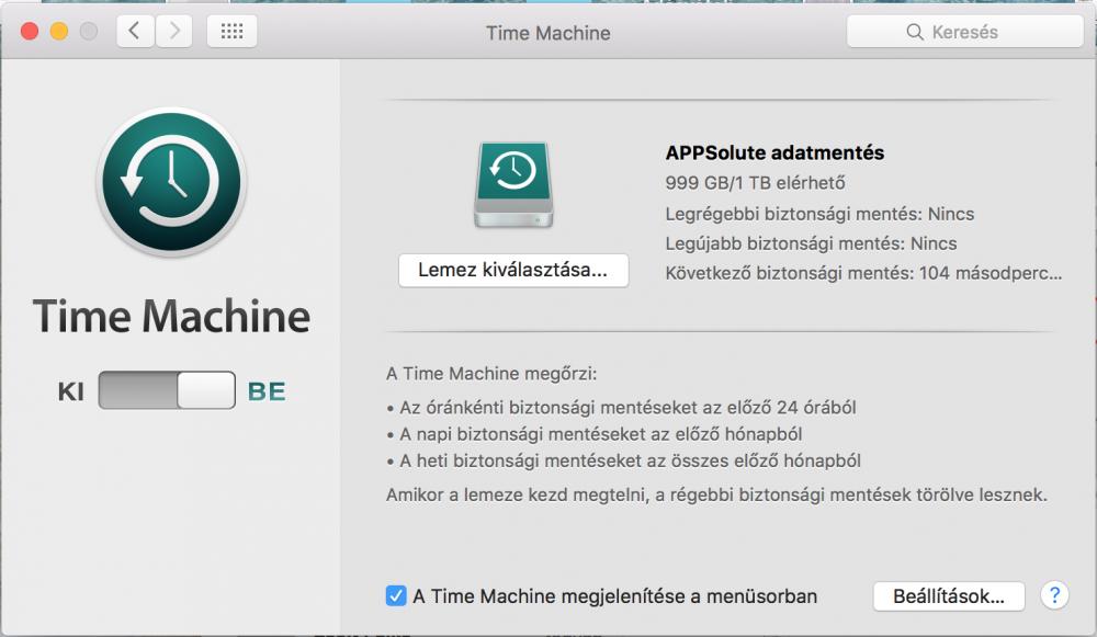 Time Machine High Sierra rendszeren 10.13. beállítások, lépésről lépésre útmutató