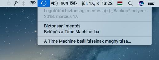 Time Machine ikon a menüsorban, a Time Machine elérése a menüből, egy kattintással