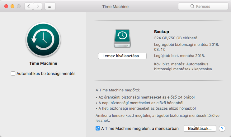 System Preferences Time Machine, High Sierra, automatikus mentés