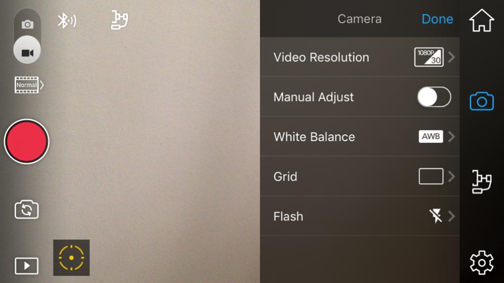 Kamera beállítások, osmo mobile teszt