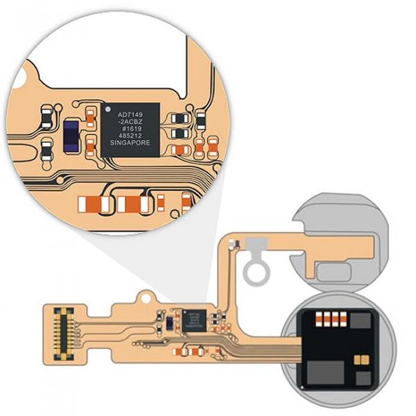 Az iPhone 7 és iPhone 7 Plus Home gombjának sematikus felépítése. Középen a Turtle IC.