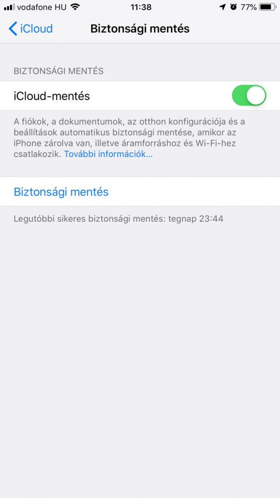 iPhone biztonsági mentés készítése - iCloud